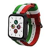 Estuyoya - Pulsera de Nylon Compatible con Apple Watch Colores Ikurriña Bandera de Euskadi, Ajustable Deportiva Casual Elegante para 42mm 44mm Series 6/5 / 4/3 / 2/1 / SE/Nike+ - Negro
