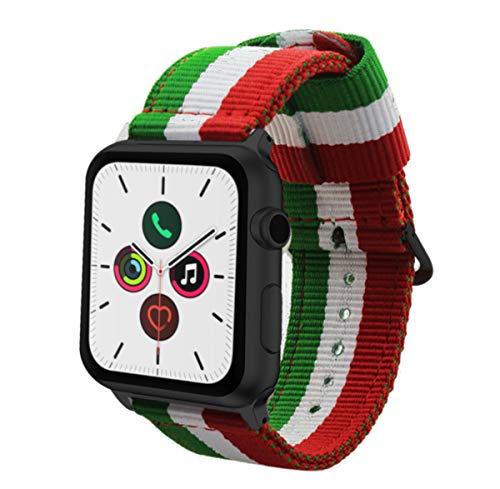 Estuyoya - Braccialetto in Nylon Compatibile con Apple Watch Colori Bandiera d'Italia Regolabile Ricambio Stile Sportivo Casual Eleganti per 42mm 44mm Series 5/4 / 3/2 / 1 Nike+ - Tutti i Modelli