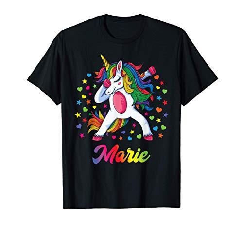Marie Nombre Personalizado Regalo Cumpleaños Unicornio Camiseta