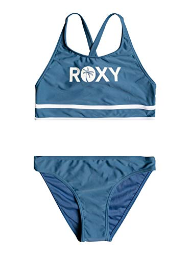 Roxy Surf Time - Conjunto de Bikini Crop Top - Chicas 8-16 - 12 - Azul