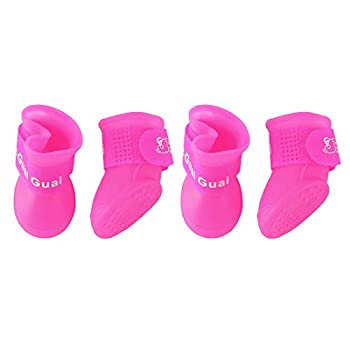 uxcell Dog Rain Shoes Pet Boots Water Wear Resistant Anti-Slip for Dog Outdoor Running Shoes Paw Protectors Hot Pink 4 Pcs L