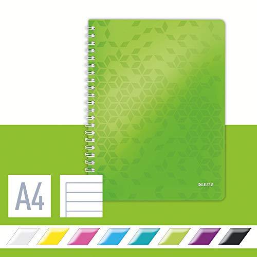 Leitz Cuaderno A4 con Tapas Flexibles, Verde, Encuadernación en Wiro, 80 hojas, a Rayas, Papel de Marfil de 80g/m², Gama WOW, 46370154