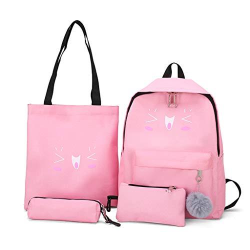 Lazder Rucksack mit niedlichem Katzenmotiv, Segeltuch, Schulranzen und Büchertaschen, für Teenager, Mädchen, 4-teiliges Set m rose