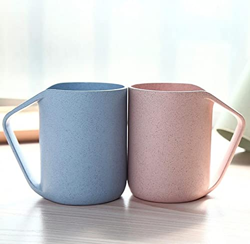 Aidou Taza de paja de trigo ecológica taza enjuague bucal taza taza de agua para agua café leche (2 unidades)