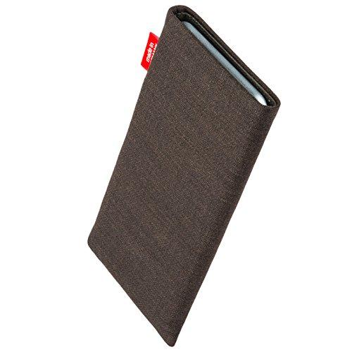 fitBAG Jive Braun Handytasche Tasche aus Textil-Stoff mit Microfaserinnenfutter für Huawei Ascend Mate 2   Hülle mit Reinigungsfunktion   Made in Germany - 2