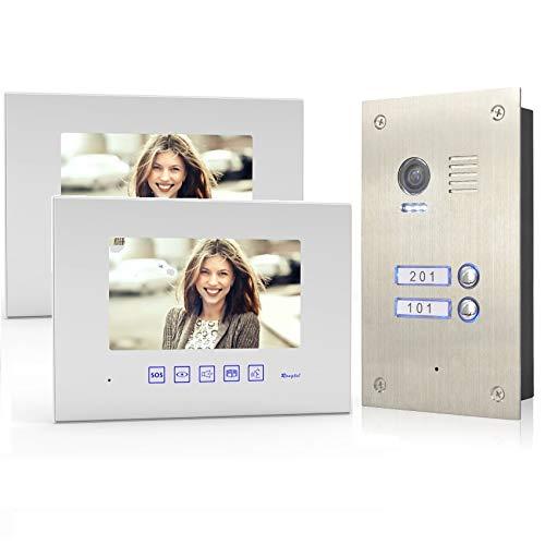 2 Familienhaus 4 Draht Video Türsprechanlage Gegensprechanlage Edelstahl Außenstation, Monitor Glas, Größe: 2x7'' Monitor in weiß