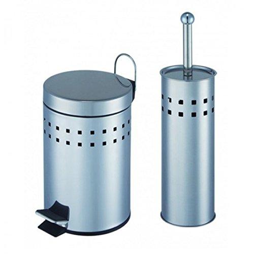 Unbekannt WC-Garnitur Badezimmer Set Mülleimer WC-Bürste Edelstahl Abfalleimer Klobürste Treteimer