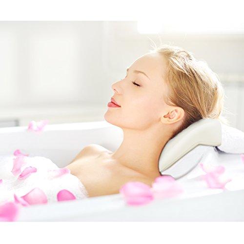 HEALIFTY Badewannenkissen - Spa Badewannenkissen mit Kopf- und Nackenstütze - Super weich - Nicht Schwimmend, Antibakteriell, Schnell trocknend, Rutschfest - Passt in die Meisten Wannen
