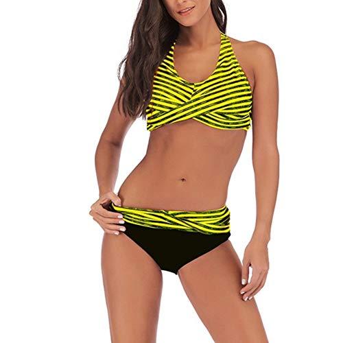 Damen sexy Badeanzug Gepolstert Bikini Set Neckholder Gestreifter Bikini Oberteil High Waist Wickel Bikinihose V Ausschnitt Sportlich Zweiteiliger Strandbikini raffiniert weiche Strand bademode XL