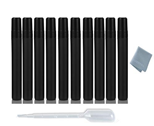Elfenstall- Cool Black 10pcs 10ml 1/3OZ Atomizer Empty Matte Plastic Fine Mist Spray Bottle Refillable Fragrance Perfume Scent Sample Bottle for Travel Party Makeup Tool