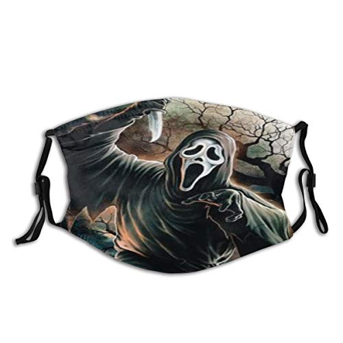 KENADVI Face Cover Halloween Scary Evil Killer Ghostface Horror Movie Themed Holiday Design Balaclava Unisex Reusable Windproof Anti-Dust Mouth Bandanas Outdoor Running Neck Gaiter with 2 Filters