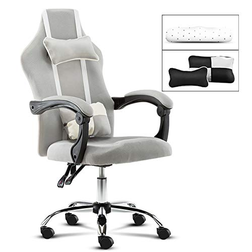 MOye Simple Computer Chair Home Office Swivel Chair/Latex Cushion/Headrest/Ergonomic Back Chair/Gaming Chair/Gaming Seat,Gray,A