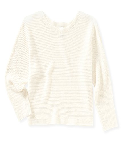 Aeropostale Womens Cropped Dolman Pullover Sweater, Off-White, X-Large