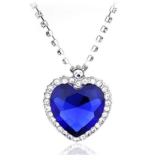 NaisiCore Collar de la Manera del Metal El Famoso corazón titánico del Collar Pendiente del océano para Las Mujeres y niñas Azul Cuidado Personal
