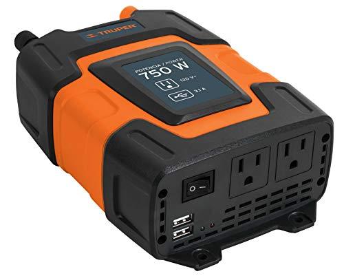 Truper INCO-750, Accesorios para auto Inversores de corriente con puerto USB 1,000 W Convierte la corriente del vehículo de 12 V C.D. a 120 V C.
