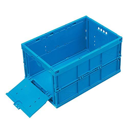 Faltbox aus Polypropylen - Inhalt 65 l, geschlossen mit stirnseitiger Entnahmeklappe, ohne Deckel - Faltboxen Kunststoff-Behälter Lagerkästen Stapelbehälters Kunststoff Klappbehälter Stapelkästen aus Kunststoff Klappboxen Faltboxen Kunststoff-Behälter