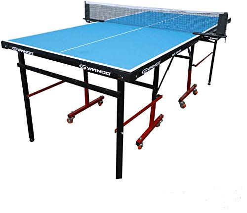 Gymnco Mini Table Tennis Table (6x3 ft) with Wheel ( Laminated Top 18 mm + 2 Tt Racket & Balls )