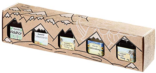 Allgäuer Genuss-Box   Deutscher Honig Geschenkbox mit 5x 50g Feinschmecker-Brotaufstrich (5x Deutscher Honig)