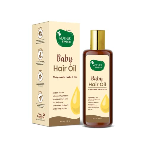 Mother Sparsh Ayurvedic Baby Hair Oil with 21 Herbs & Oils for Baby's Tender Scalp & Hair, 100 ML