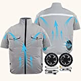 ARRIS Cooling Fan Jacket, Air Conditioned Coat for Men, 5V USB Summer Cooling Jacket Work Clothes for Summer Outdoor Work, Fishing, Cycling, gardening, construction, etc