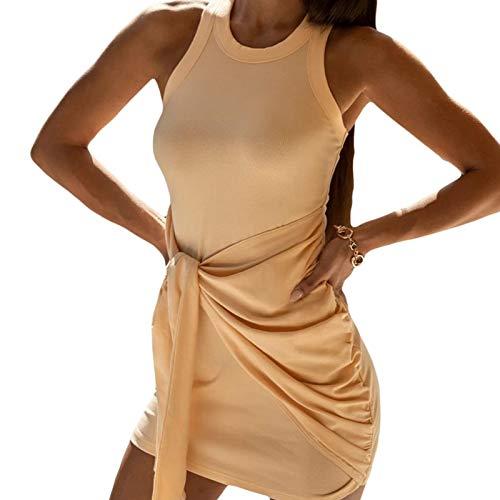 Swide Stickad klänning med hög midja vardaglig stil klänning rund hals damkläder hög midja smal klänning för alla tillfällen för vardaglig stil daglig klädsel Heminredning metod