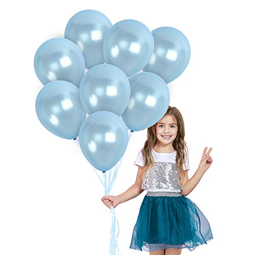 Metallic Light Blue Balloons 72 Pack - Baby Blue Balloons 12 Inch - Pearl Pastel Blue Balloons for Gender Reveal Baby Shower Elephant Birthday Party Graduation Decorations