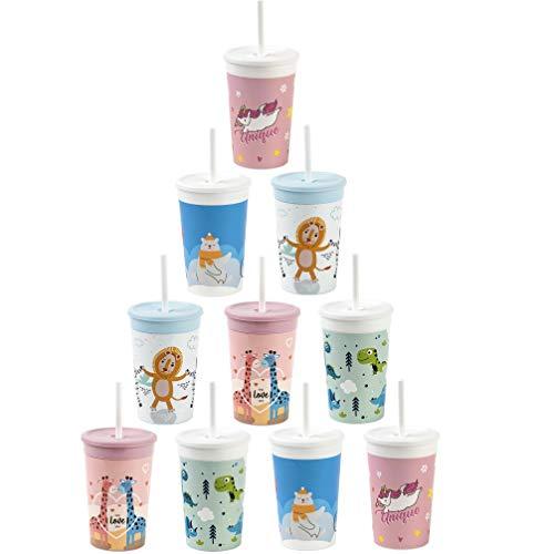 ENGELLAND -10x Kunststoffbecher mit Deckel Bunte Mischung Trinkbecher mit Strohhalm Party-Becher Plastik Trink-Gläser Mehrweg 0,33l