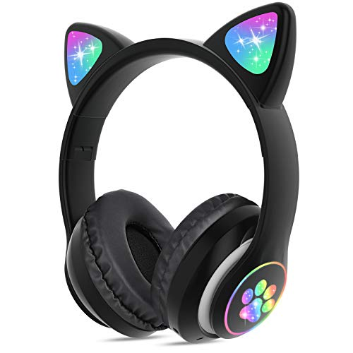 Wireless Headphones TCJJ Cat Ear LED Light Up Bluetooth Foldable Headphones Over Ear w/Microphone for Online Distant Learning (Shing Black)