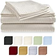 Crystal Trading 4-Piece Bed Sheet Set - Dobby Stripe - 100% Cotton Sateen - 300 Thread Count (Queen, Ivory)