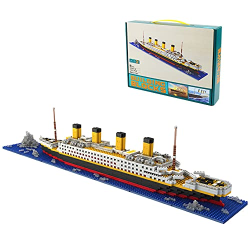 WANGCHAO Titanic Bausteinspielzeug Set (1860 stücke), Erwachsene und Kinderbaugruppe Modell Kit Bausteine, pädagogisches Bildungsspielzeug (56x12x8cm)