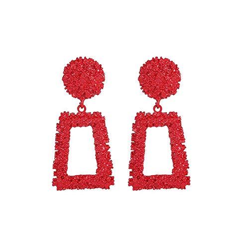 SO-buts Geometrische Ohrringe,Damen Anhänger Ohrringe,Lange Ohrringe aus Metall,Matte Trend Trapezförmige Ohrringe (Rot)