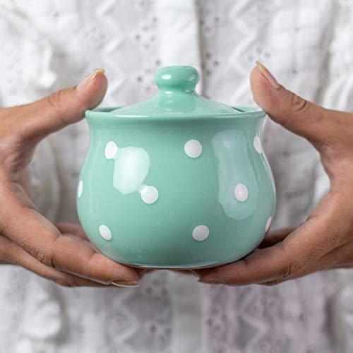 Lot de 3 peint à la main bleu à pois Ronde en Céramique Thé Café Sucre Stockage Pots