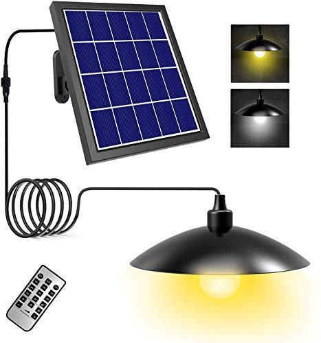 Luz Colgante Solar Exterior, T-SUN Lámpara Colgante Solares Retro con Control Remoto, Regulable 3000K/6000K, Cable de 5M Lámpara Colgante, 8 Modos de Brillo y 8 Ajustes de Temporizador.