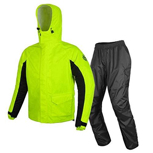 GJFeng Fietsregenjas, voor volwassenen, split, outdoor, motor, regenpak, ademend, voor mannen en vrouwen Large zwart