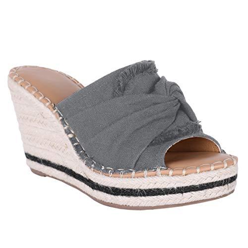Huiyuzhi Womens Espadrille Slides Wedge Sandals Tie Knot Slip on Platform Wedges Flip Flops (8 B(M) US, A-Dark Gray)
