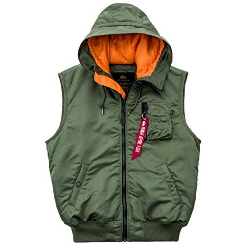 ALPHA INDUSTRIES Hooded MA-1 Vest Pilotenweste Nylon Street Wear warmes Innenfutter mit gefütterter Kapuze, Größe:XL, Farbe:sage Green