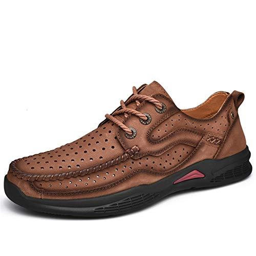 Zapatos casuales Zapatos para caminar para hombres, grifo de cuero perforado ligero Zapatos al aire libre, zapatos de punta redonda de color sólido suaves y transpirables.