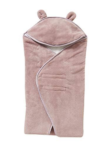 VERTBAUDET Einschlagdecke für Babyschale, Mikrofaser/Fleece weiß/rosa ONE SIZE