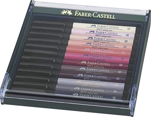 Estojo Canetas Ponta Pincel, Faber-Castell, Pitt Artist Brush, 267424, 12 Cores Tons de Pele, Multicor