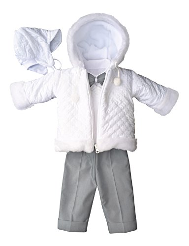 deine-Brautmode Taufanzug Festanzug Jacke Winterjacke Hose Hemd Taufe Baby Anzug Winter Set weiß hellgrau, 68