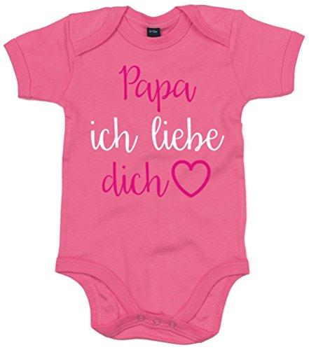 EDWARD SINCLAIR Baby & Kleinkind Baby Body Bubblegum Pink 62-68 ' 'Papa ich Liebe Dich' with Hot Pink and White Glitter Print