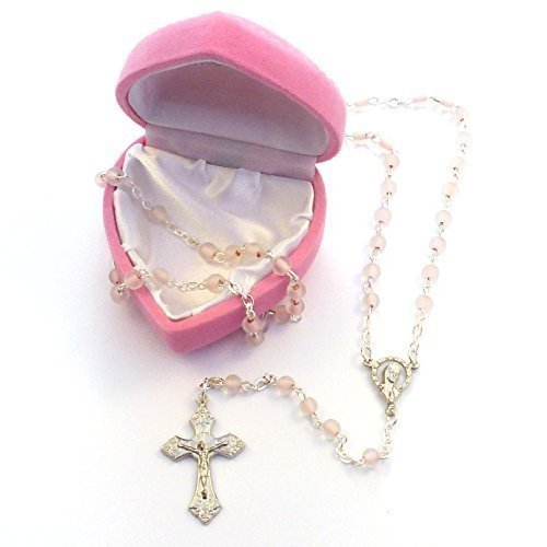 My 1st Rose Childs Girl Roze Glas kleine Rose kralen + Box Fab Communion Gift by C BC
