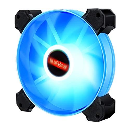 Shiwaki Súper silencioso 12cm LED RGB Caja Redonda de Ordenador Ventilador de refrigeración radiador, Mantener su Sistema Fresco - Luz Azul 01