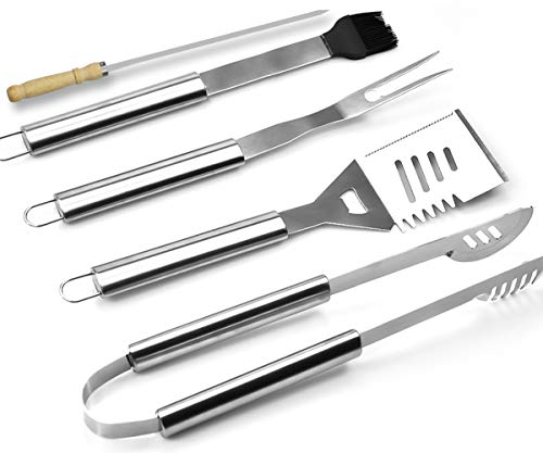 loteaf Grill Tools Set 8PCS Heavy Duty BBQ Tools with Storage Case Include Thick Stainless Steel Spatula, Fork, Basting Brush, Skewers & Tongs- Ideal Grill Set Gift for Men Dad on Christmas Birthday