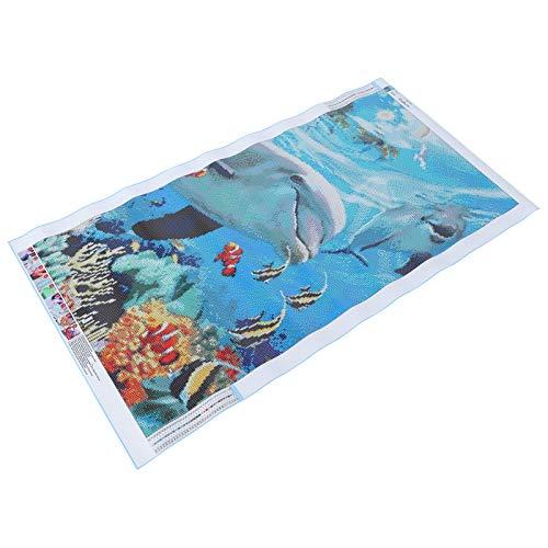 Pintura de diamantes, Kit de pintura de diamantes de animales de delfín colorido, pintura de diamantes DIY, decoración de pared, regalo de vacaciones para el adorno del hogar