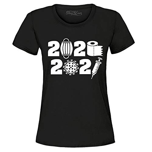 shop4ever 2020 Masks and TP 2021 Covid Vaccines Women's T-Shirt X-Large Black 0