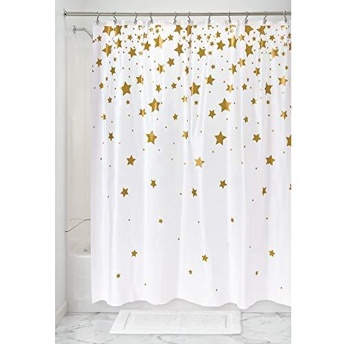 iDesign Falling Stars Duschvorhang, großer Badewannenvorhang aus PEVA, goldfarben