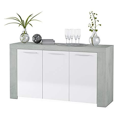 Habitdesign 016620L - Aparador Comedor Moderno, Buffet salón, Color Blanco...
