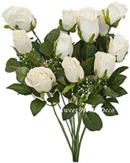 Sweet Home Deco 18'' Silk Rose Bud Artificial Flower Bush (12 Stems/12 Flowers) Wedding Home Decoration (White)