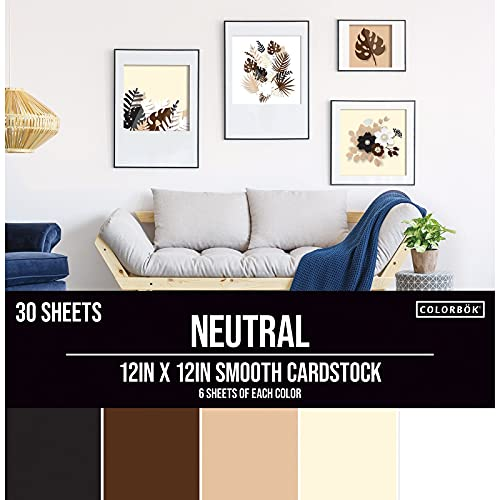 Colorbok 61198B Neutral Smooth Cardstock Paper Pad, 12' x 12'- 6 sheets of 5 different Neutral colors. (packaging may vary)